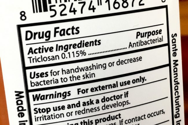 Triclosan Label