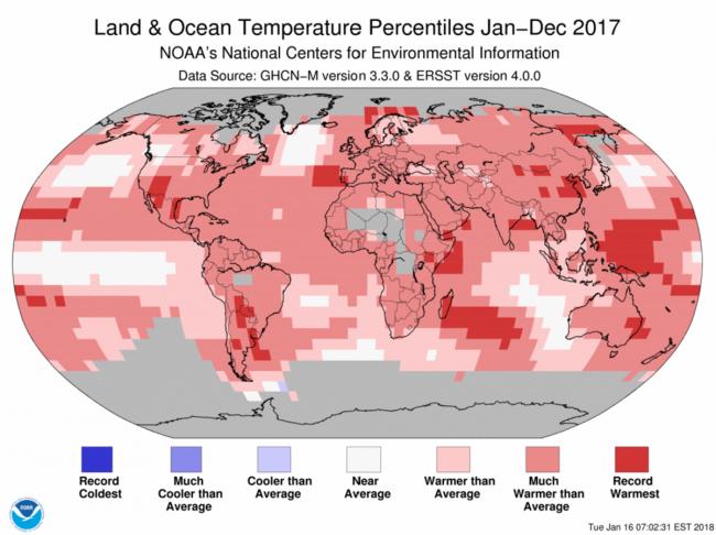 NOAA 2017 temperatures