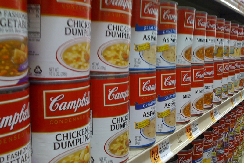 cans of soup with bpa lining