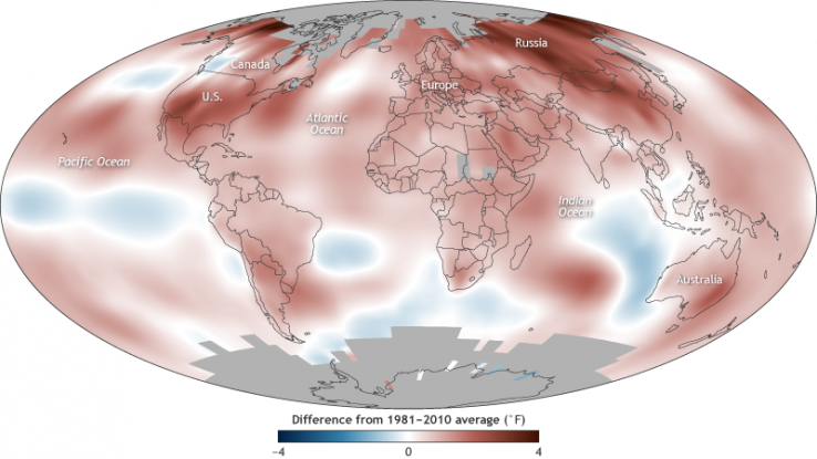 2017 Global Surface Temperatures Map