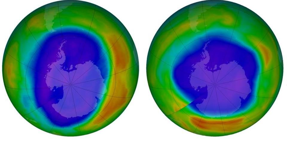 Low ozone above Antarctica on September 2000, left, and September 2018, right