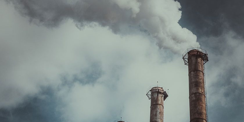 CO2 emissions stacks releasing gas