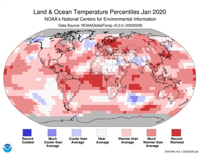 January 2020 Temperature Map